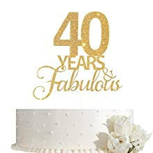 40 Years Fabulous Cake Topper, 40th Birthday Cake Topper, 40th Anniversary Cake Topper with Gold Glitter