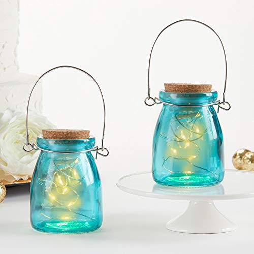 Kate Aspen 27142BL Hanging Blue Jar With Fairy Lights, Set of 4 Lantern 0]()