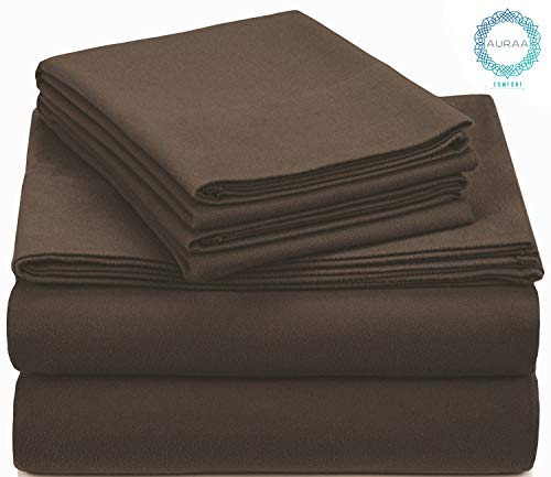 AURAA Comfort 100% Cotton 160 GSM Velvet Flannel,Supreme Comfort, Warm & Fuzzy 4 Piece Bedding Set,Queen Sheets,Upto 16