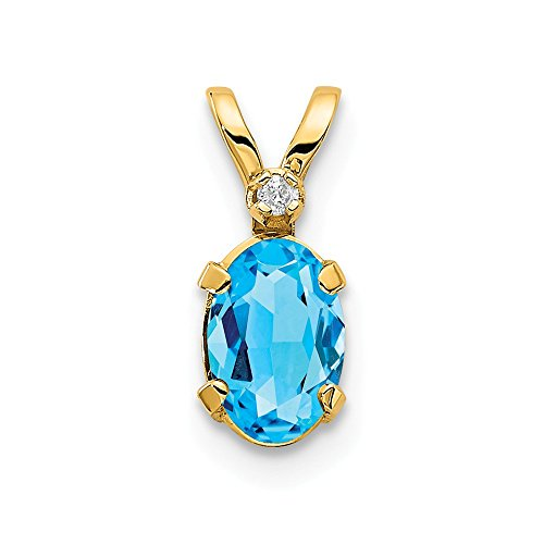 14k Yellow Gold Diamond Blue Topaz Birthstone Pendant Charm Necklace December Oval Fine Jewelry Gifts For Women For Her