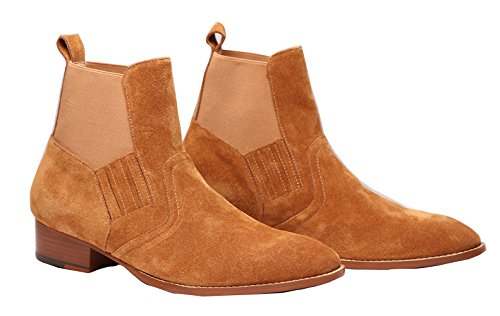 Botas Tobilleras Chelsea Marrón Para Hombre Con Zapatos De Montar De Ante Redondo (us 7)