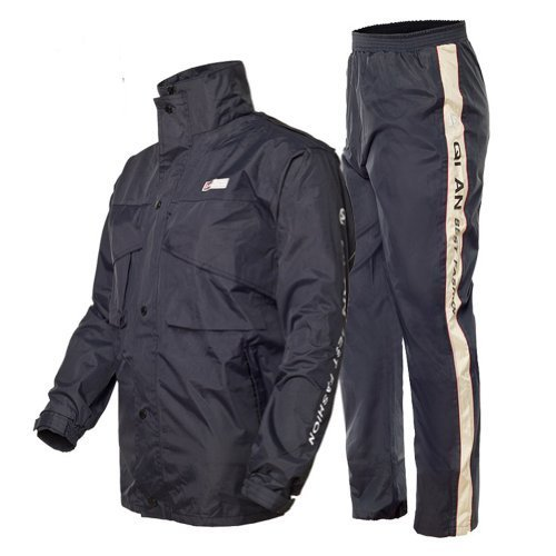 Women and Men Waterproof and Windproof Fission Raincoat and Pants Suit Fashion Double Thickening Fishing Motorcycle Outdoor Raincoat (Navy blue, L)