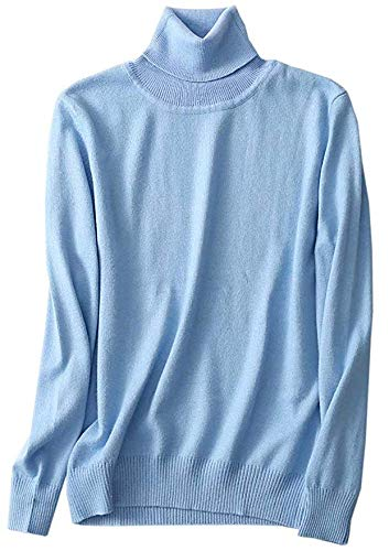 SANGTREE Women's Cashmere Turtleneck Long Sleeves Lightweight Pullover Sweater, Light Blue, US XL(16-18)