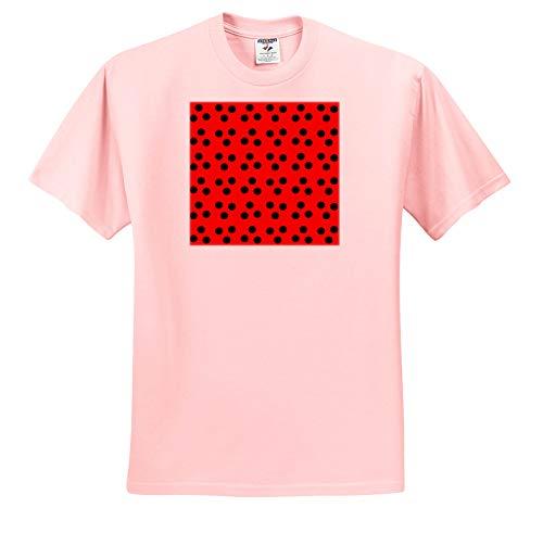 3dRose Anne Marie Baugh - Patterns - Cute Lady Bug Red with Black Dots Pattern - Toddler Light-Pink-T-Shirt (2T) (ts_317949_47)