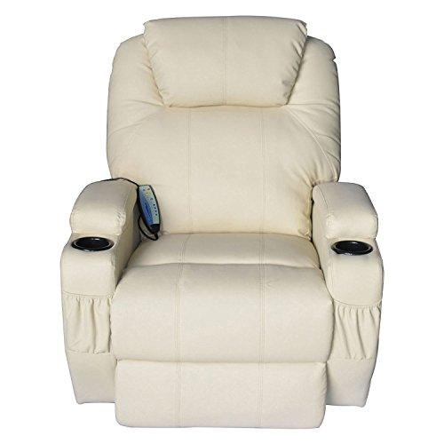 Price comparison product image Massage Recliner Sofa Chair Pu Leather 360 Degree Rocker Swivel Massage Recliner- 8 Vibrating Nodes -Executive Heated w / Control Back ( 2 of Free Sea Urchin Massage Ball)