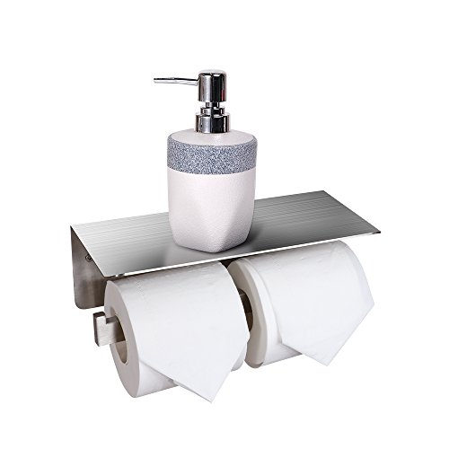 CROWN Toilet Paper Roll Holder with Shelf Stainless Steel Bathroom Double Roll Paper Hanger Phone Shelf Holder 30311WH (Double Toilet Paper)