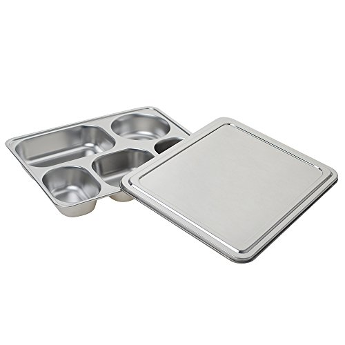 Aspire Stainless Steel Bento Box, Divided Dinner Trays With Cover, 1 Set-5 Sections ()