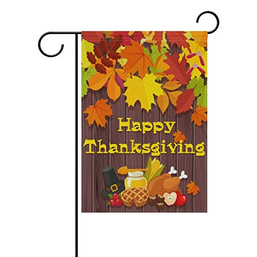 SINOVAL Thanksgiving Wood Table Food Fruits Double-Sided Polyester Garden Home Funky Flag Banner for Party Home Outdoor Decor 12x18 inch