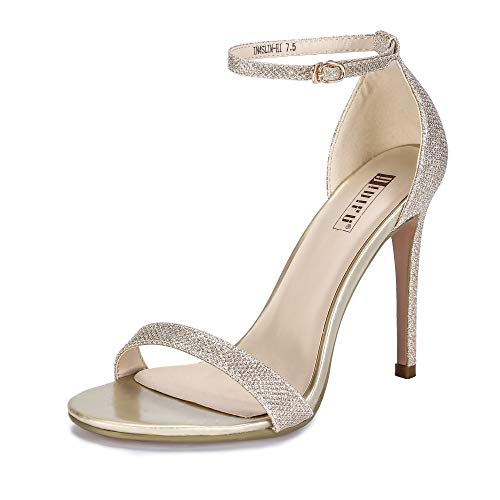 - IDIFU Women's IN4 Slim-HI Open Toe Stiletto High Heel Ankle Strap Dress Sandals Party Shoes Gold Glitter 7 M US