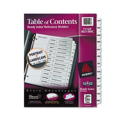 Ready Index Classic Tab Titles, 12-Tab, Jan-Dec, Letter, Black/White, 12 per Set [Set of 2]