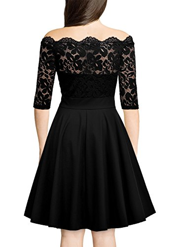 Women Dress Neck 2 Vintage s MissMay black Lace Boat Swing F Formal Floral Cocktail fnvgAqdAwx