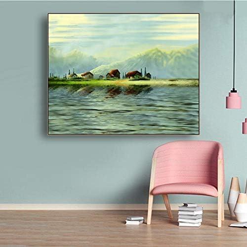 キャンバス書道絵画春水辺のポスターと版画、グリーンマウンテン壁写真リビングルームホームデコレーション90×72センチメートル枠な