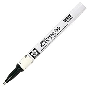 Sakura Pen-Touch - Rotulador permanente con punta caligráfica fina (1 unidad), color blanco