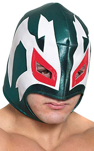 HMS Men's Mexican Wrestling Mystery Man Mask, Green, One Size