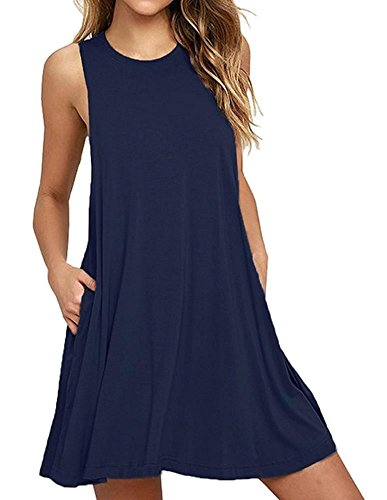 Cotton Sleeveless Cover Up - Cami-sunny Beach Wear Beach Dresses Cover Up For Women Summer Mini Dress Cotton Sleeveless Spaghetti Strap Size Small, Navy Blue
