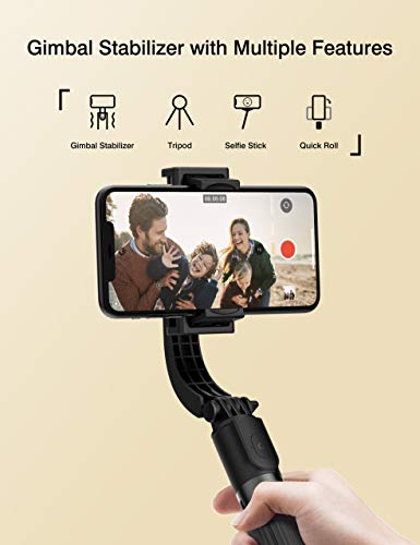 ARTOFUL Gimbal Stabilizer for Smartphone Selfie Stick Tripod with Bluetooth Wireless Remote 360° Rotation Auto Balance Stabilizer Portable Phone Stand for iPhone & Android