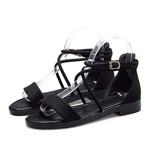 t Femmes Cravates tudiantes Rome Chaussures Sandales thirty Sandals Kphy six Cent Croix A Noir Boucles qaICwRW1