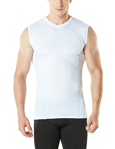 Mens Sleeveless Compression Shirt - TM-MUV06-WHT_X-Large Tesla Men's V Neck Sleeveless Cool Dry Compression Muscle Tank Baselayer