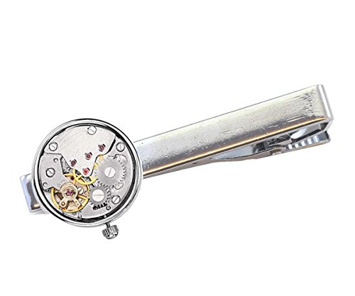 Steampunk Tie Bar Watch Movement Tie Clips (Gold Real Working)