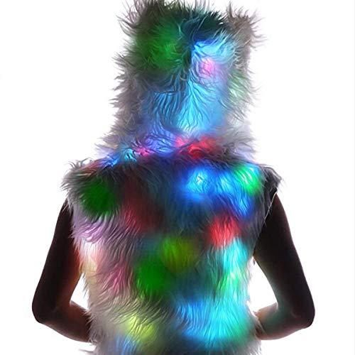 De Fausse Manteau Costume Femmes Noël Led Capuche Fourrure Hiver Lumière À Goyfeelip White Gilet Cardigan wv7qBIPn