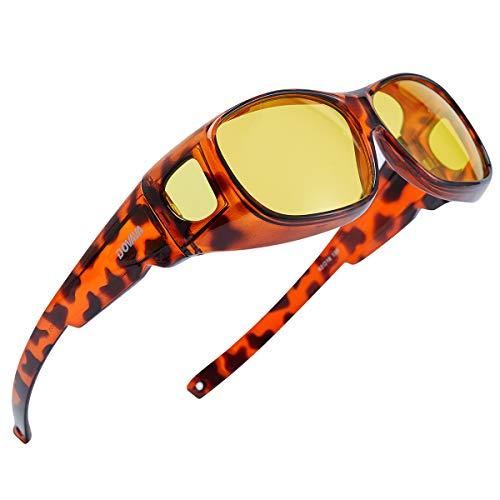DOVAVA Night Vision Glasses Driving Fit Over Glasses HD Night Vision Polarised Anti Glare Wrap Around For Mens Womens(Tortoiseshell-Yellow)