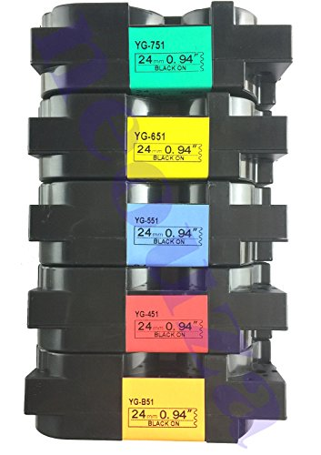 NEOUZA 5PK Compatible For Brother P-Touch Laminated TZe TZ Label Tape Cartridge 1 Inch 24mm(Set of 5 Different Colors)