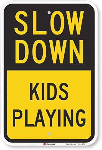 "SmartSign ""Slow Down – Kids Playing"" Sign | 12″ x 18″ 3M Engineer Grade Reflective Aluminum"