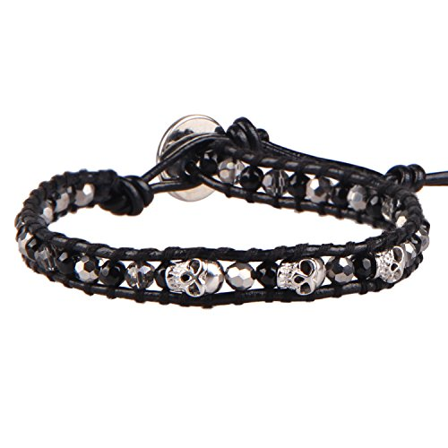 KELITCH Natural Leather Wrap Bracelet Agate Crystal Skull Mix Beaded Bracelet for Women Men Strand Bracelets New