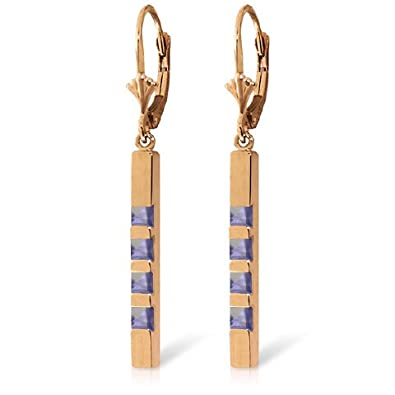14k Solid Gold Lever Back Earring with Tanzanite