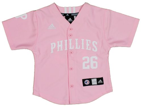 MLB Pink Philadelphia Phillies Kids Chase Utley Jersey By Adidas (Large - Utley Chase Phillies