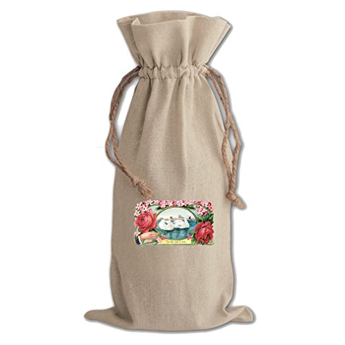 Two Swans 'To The One I Love' Canvas Wine Cotton Drawstring Bag