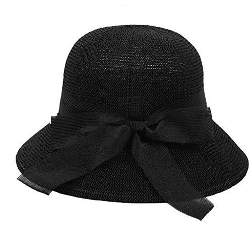 Pengy Women Fashion Straw Sunhat Floppy Foldable Ladies Women Straw Beach Sun Summer Hat for Girl Lady Black