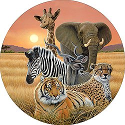 Safari Elephant Giraffe Zebra Cheetah Tiger Spare Tire Cover for Jeep RV Camper VW Trailer etc(Select popular sizes from drop down menu or contact us-ALL SIZES AVAILABLE)