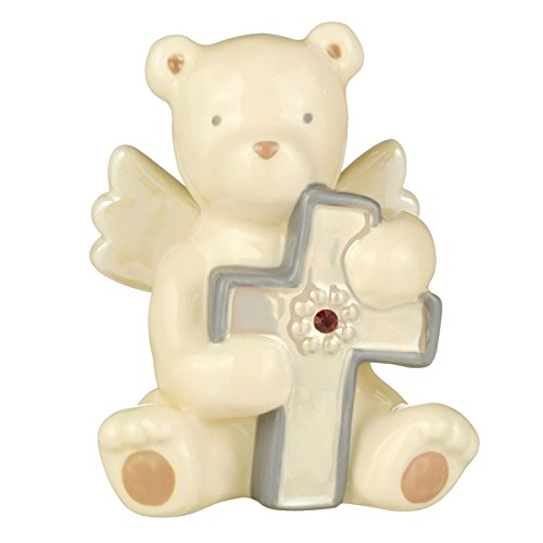 January Grasslands Road Baby Blessings Bear Angel with Cross