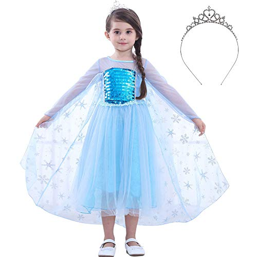 JYH Girls Princess Elsa Sequin Costume Halloween Dress Up Cosplay for Toddler Size 3-12 -