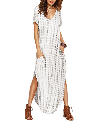 Verochic Women's Boho Casual Maxi Short Sleeve Split Tie Dye Long Dress (Black, Medium)