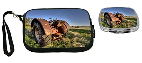 Rikki Knight Antique Farm Tractor In Field Design Neoprene Clutch Wristlet with Matching Square Compact Mirror by Rikki Knight