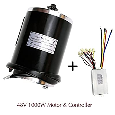 JCMOTO 48v 1000w Brushed Speed Motor and Controller Set for Electric Scooter Go Kart Bicycle e Bike Tricycle Moped