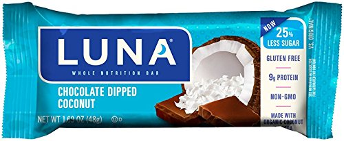 LUNA BAR - Gluten Free Bar - Chocolate Dipped Coconut - (1.69 oz, 15 Count)