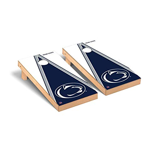 Victory Tailgate Regulation Collegiate NCAA Triangle Series Cornhole Board Set - 2 Boards, 8 Bags - Penn State PSU Nittany Lions