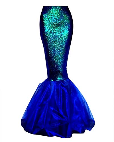 Quesera Women's Mermaid Tail Costume Sequin Maxi Skirt Cosplay Halloween Party Dress, Blue, US Large