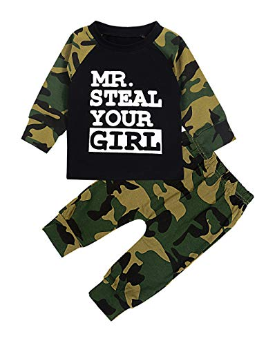 Toddler Infant Baby Boy Clothes Long Sleeve Hoodie Sweatshirt Top + Camouflage Long Pants Outfit Sets(6-12Months)