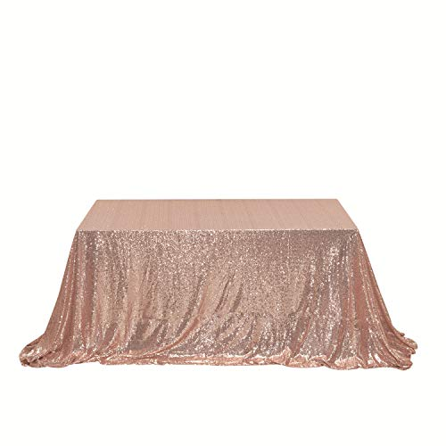 "PartyDelight 70"" x 120"" Rose Gold Sequin Tablecloth for Wedding, Baby Shower, Birthday, Banquet, Christmas, and Banquet."