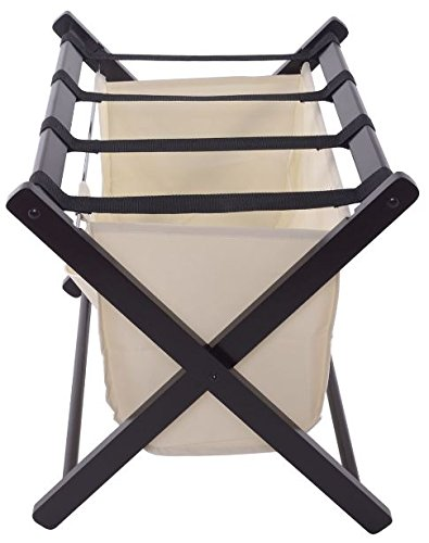 K&A Company Home Folding Wood Luggage Rack Suitcase Stand Holder Cloth Bag Curved Legs Storage Straps Hotel Motel Winsome Walnut Shelf