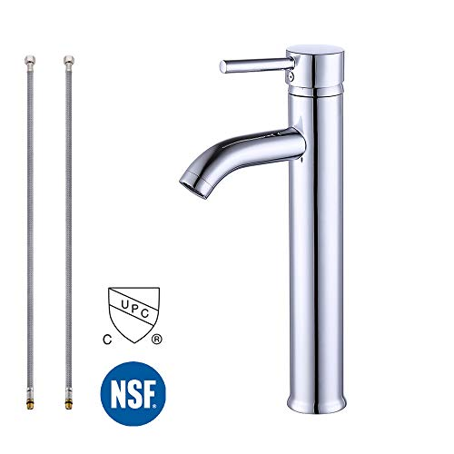 (KES cUPC NSF Certified BRASS Faucet Bathroom Sink Brass Single Hole Single Handle Lavatory Faucet Wash Basin Faucet Tap Lead-Free, Polished Chrome, L3100BLF-CH)