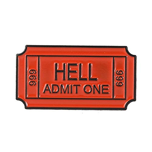 - bjduck99 Women Hell Admit One English Letter Badge Metal Brooch Pin Clothes Scarf Jewelry Decor