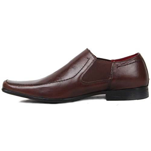 Redtape Mens Slip On Elasticated Sides Genuine Leather Square Toe Loafer Shoes Brown qp2CF