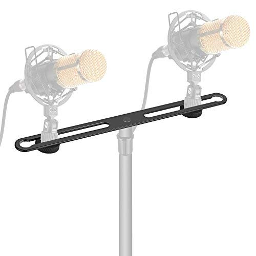 (Neewer Adjustable Microphone Bar Zinc Alloy Construction with 5/8-inch Screws for Holding 2 Mics or Boom Arms, Shock Mounts in Vocal Recording Broadcasting and Press Conference)