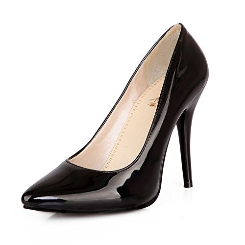 LongFengMa Women Stiletto Pumps Patent Solid Wedding Party High Heel Shoes Pointed Toe Heels Black dYhXt