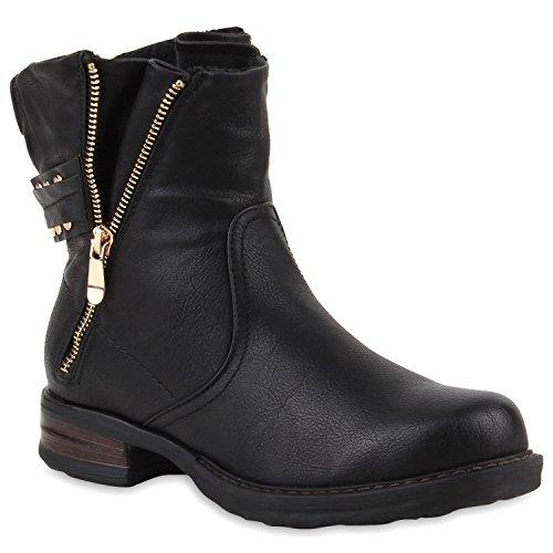 Stiefelparadies Damen Stiefeletten Nieten Biker Boots Gefütterte Stiefel Leder-Optik Schuhe Strass Schnallen Zipper Übergrößen Cut Outs Fransen Flandell Schwarz Zipper